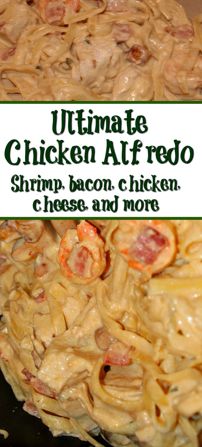 This Ultimate chicken alfredo is full of different cheese,chicken,bacon, shrimp, and mushrooms to make a heavenly Alfredo that will hit the spot!