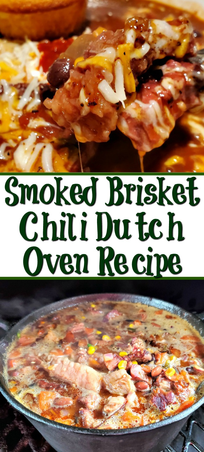 Lefover smoked brisket makes the perfect Spicy Smoked Brisket Chili Dutch Oven Recipe! Chop it up and throw in the pot with everything else and smoke more!
