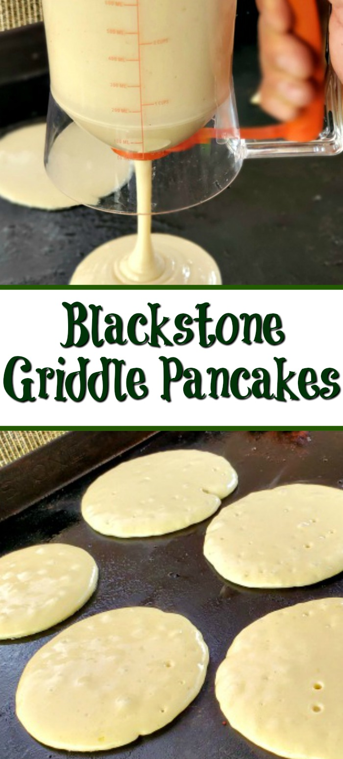 Blackstone Griddle Pancakes are perfect for any weekend brunch or even breakfast for dinner! Pair them up with all the classic breakfast sides and enjoy!