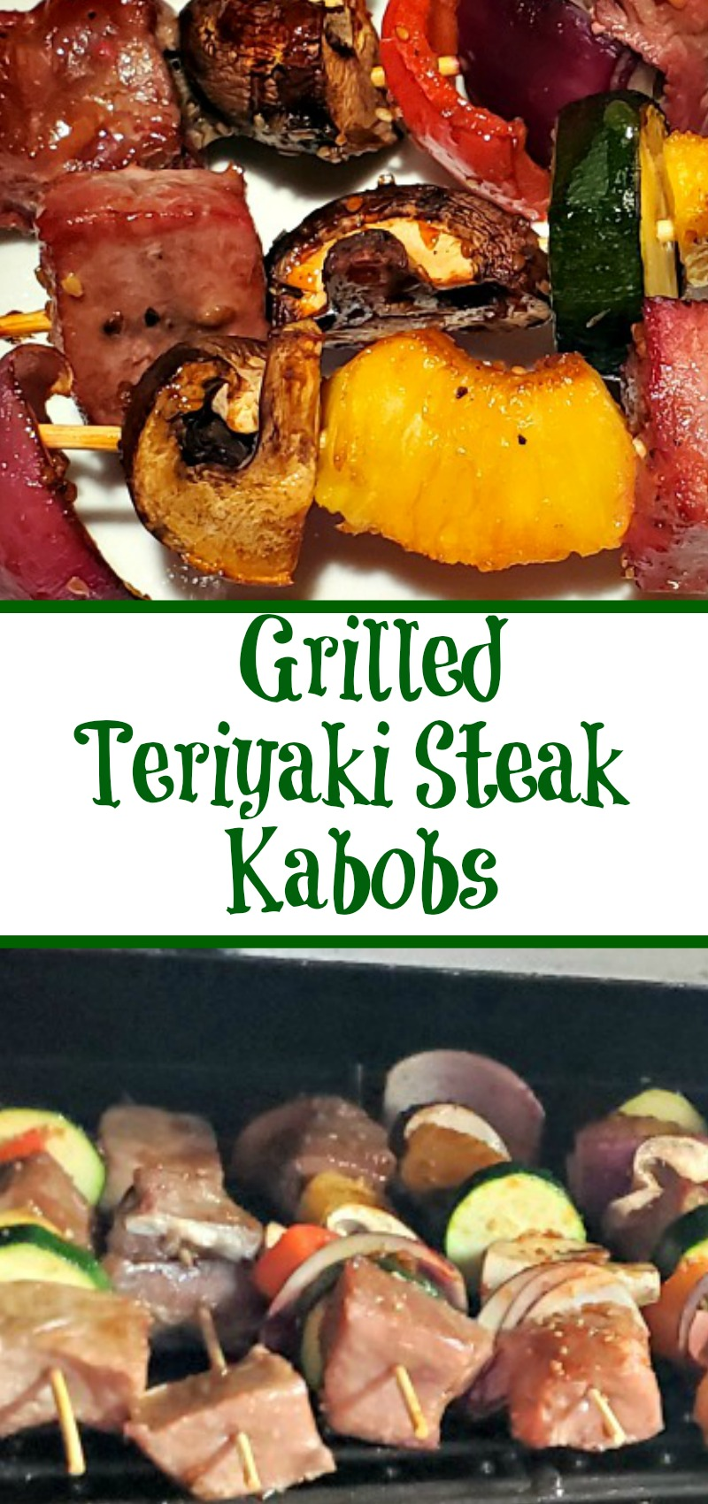 This Easy Grilled Teriyaki Steak Kabobs Recipe is perfect for a weeknight bbq dinner! Just assemble and throw on the grill for an easy dinner!
