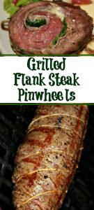 These Grilled Flank Steak Pinwheels perfect meal to make for a date night in or couples dinner night! Pair up with other grilling recipes for a total meal!