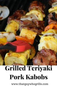 These Grilled Teriyaki Pork Kabobs are easy to make and full of amazing flavor. Use your favorite vegetables to pair up with the meat and sauce for kabobs.
