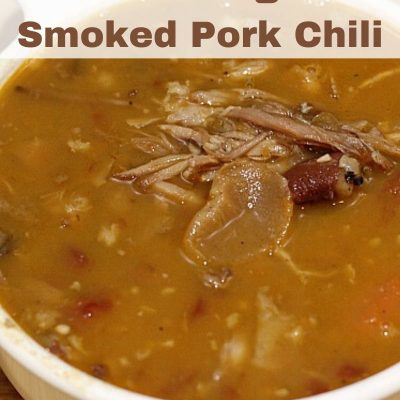 This Smoked Pork Chili is the perfect way to use up left-over smoked pork! Pork shoulder is a great budget friendly roast to pick up, smoke, and makes the perfect meat to use to make a chili out of next day! The chili is the perfect start it and forget it stovetop dinner that will leave your house smelling amazing too!