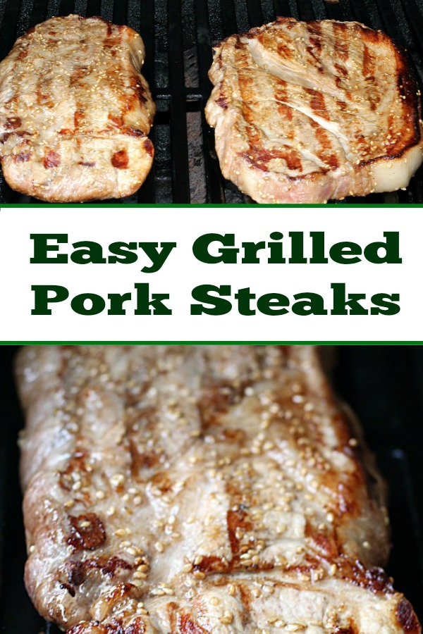 This Easy Grilled Pork Steaks Recipe is perfect for a weeknight grilling recipe! Using sesame oil and sesame seeds as well gives an amazing flavor!