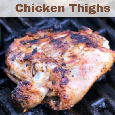 This Easy Grilled Chicken Thighs Recipe is perfect for an easy weeknight dinner! Grilling is perfect way to enjoy summer weather while getting dinner done.