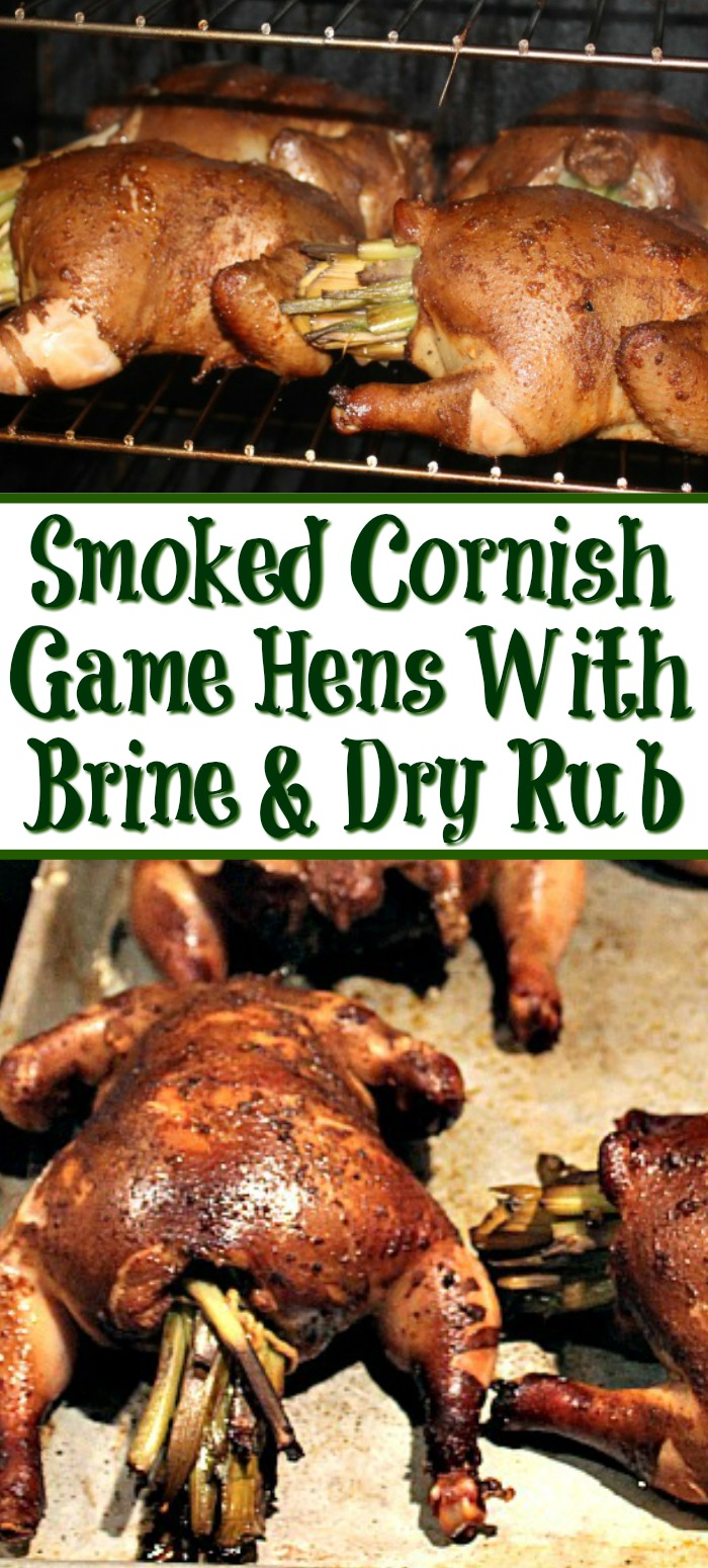 These Smoked Cornish Game Hens With a Brine And Dry Rub Recipe and are full of flavor! Stuff with butter, leeks, celery, and green onions for moist meat!!