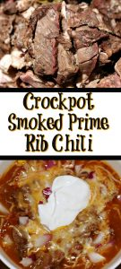 This Crockpot Prime Rib Chili Recipe is the perfect way to use up leftover prime rib from your holiday dinnner! Throw in the crockpot and allow it to cook!