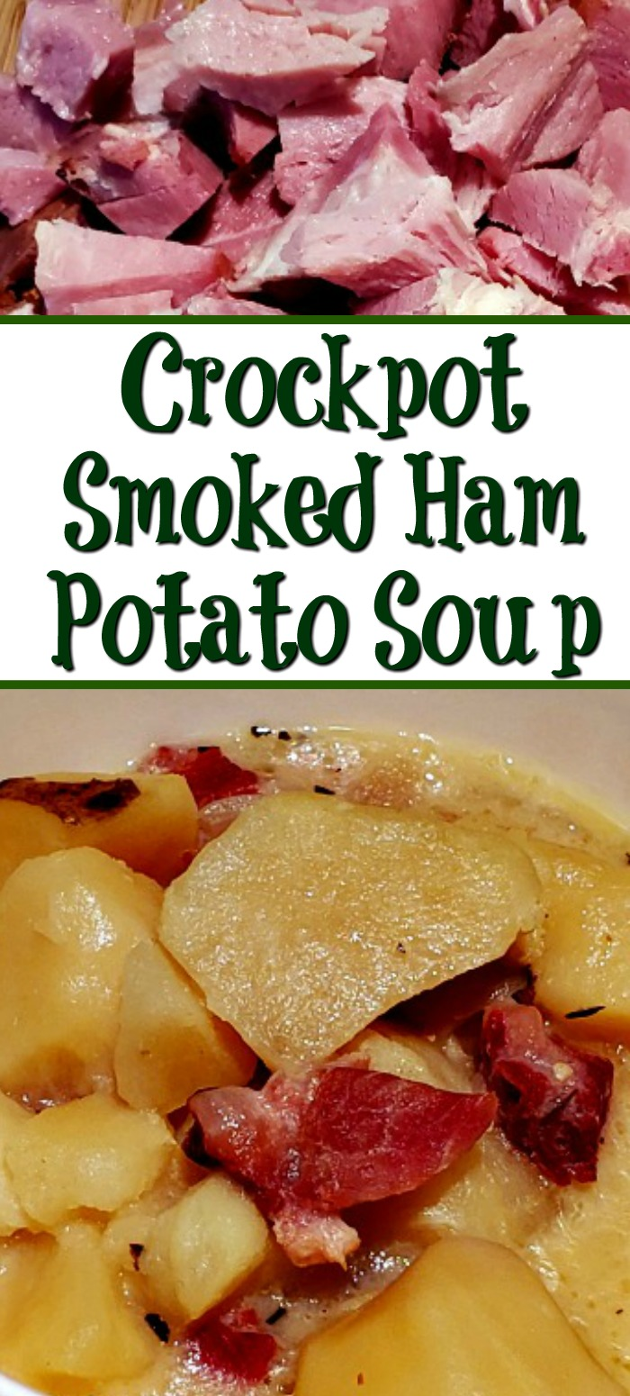 This Crockpot Smoked Ham Potato Soup Recipe is the perfect leftover ham recipe to make! Comfort food with an amazing smoke flavor as well!