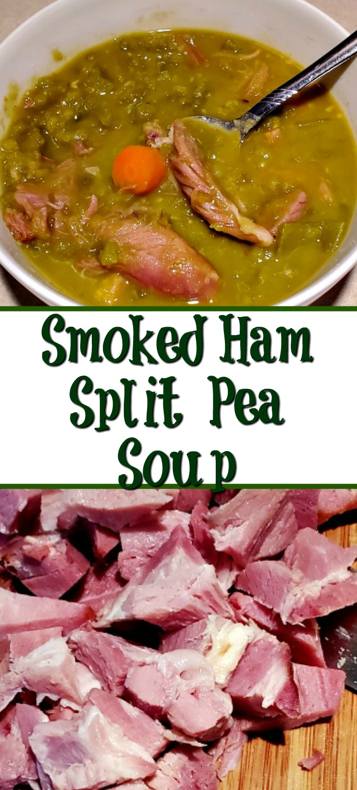 This Smoked Ham Split Pea Soup Recipe is the perfect leftover recipe to use up leftover smoked ham. Comfort food is the perfect for leftover holiday ham.