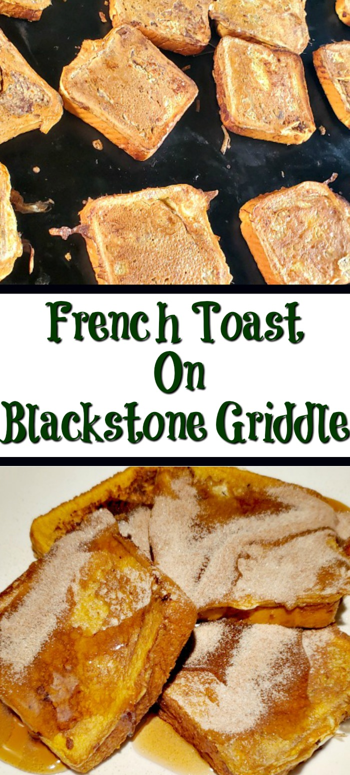French Toast On Blackstone Griddle is the perfect way to whip up a large breakfast at home or camping! Plus all the extra sides like bacon and eggs!