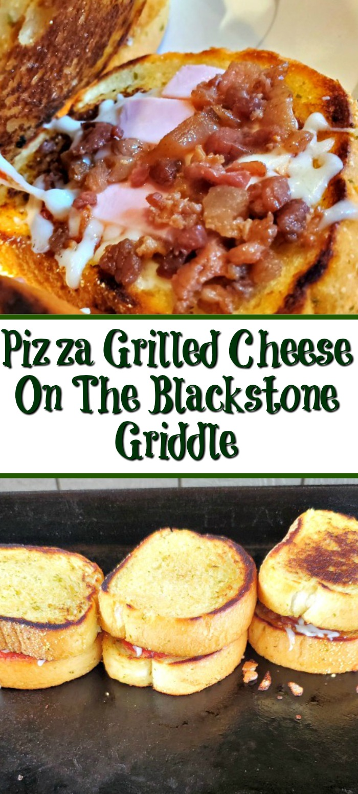How To Make Pizza Grilled Cheese On The Blackstone Griddle! An easy dinner or appetizer to make up! Change up any way you want and a kid pleaser too!
