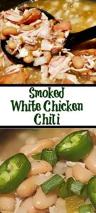 Smoked White Chicken Chili Recipe takes comfort food up to another level! Used smoked chicken breast to give even more flavor to the chili and warm you up!