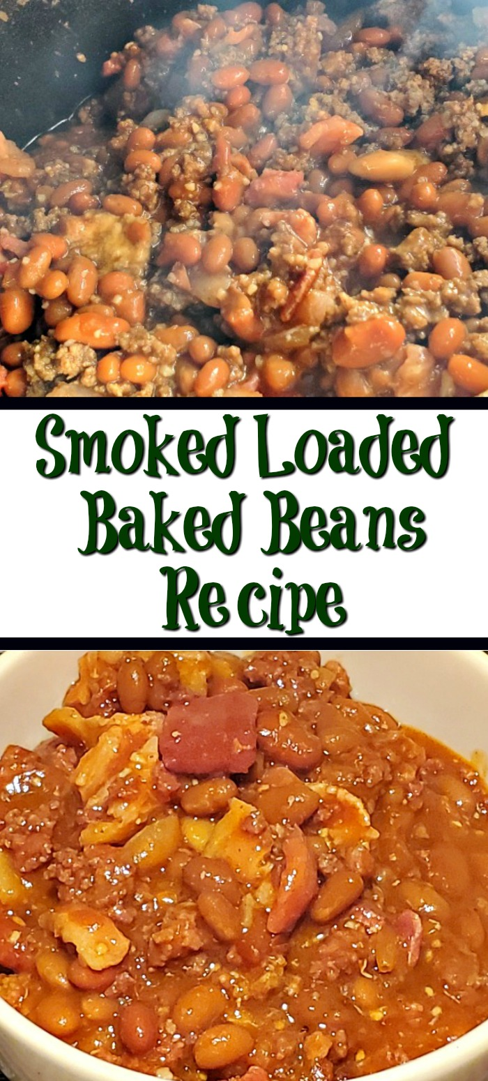 These Smoked Loaded Baked Beans Recipe Made In A Cast Iron Dutch Oven made on a Pellet Smoker are amazing! So full of flavor and perfect for BBQs! Use a combination of beans and protein to make the perfect side dish!