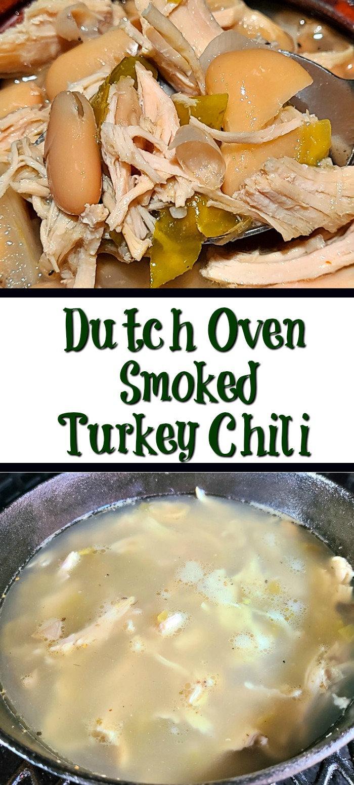This Dutch Oven Smoked Turkey Chili Recipe! Leftover holiday turkey makes the perfect leftover comfort food, even better when smoked