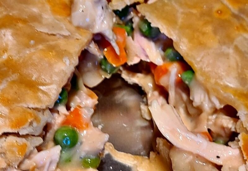 Smoked Turkey Pot Pie is the perfect comfort food to make on a pellet grill or in the oven. Smoke flavor is amazing on the crust and the turkey!