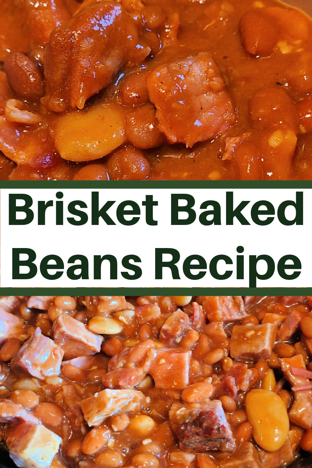 This Smoked Brisket Baked Beans Recipe is the perfect way to use up leftover smoked brisket! These beans can make an easy dinner or a tasty smoked side dish! A dutch oven brings out all the flavor with the cast iron.