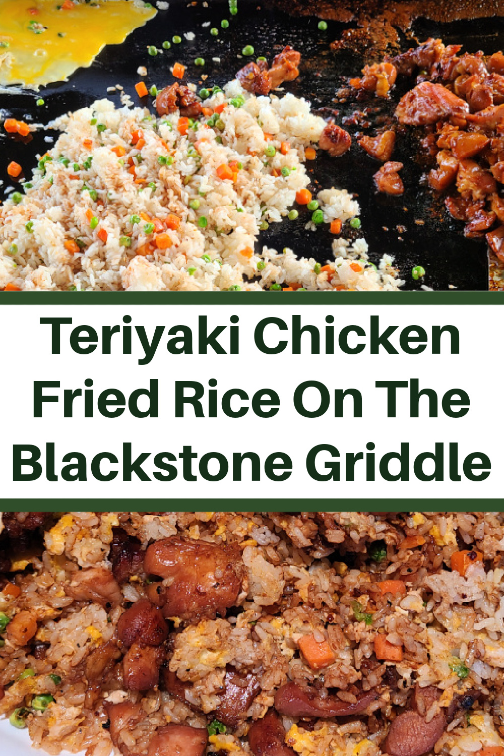 Teriyaki Chicken Fried Rice On The Blackstone Griddle! Use a teriyaki sauce and marinade to flavor the chicken thighs into the fried rice on the griddle.