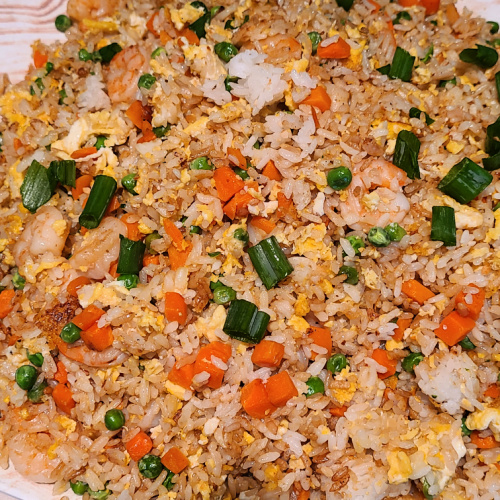 Shrimp Fried Rice On Blackstone Griddle is perfect quick weeknight dinner to make up! Make on Blackstone to keep the kitchen clean & quick clean up!