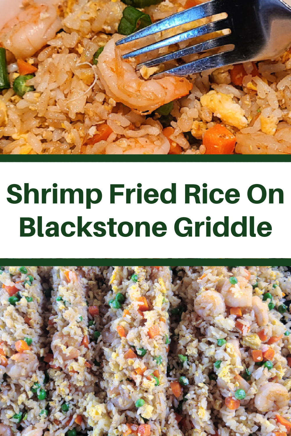 Shrimp Fried Rice On Blackstone Griddle is perfect quick weeknight dinner to make up! Make on the Blackstone to keep the kitchen clean and quick clean up! Use frozen carrots and peas with a rice cooker for an easy dinner the whole family will eat! Cook this hibachi style outside and look like a professional chef!