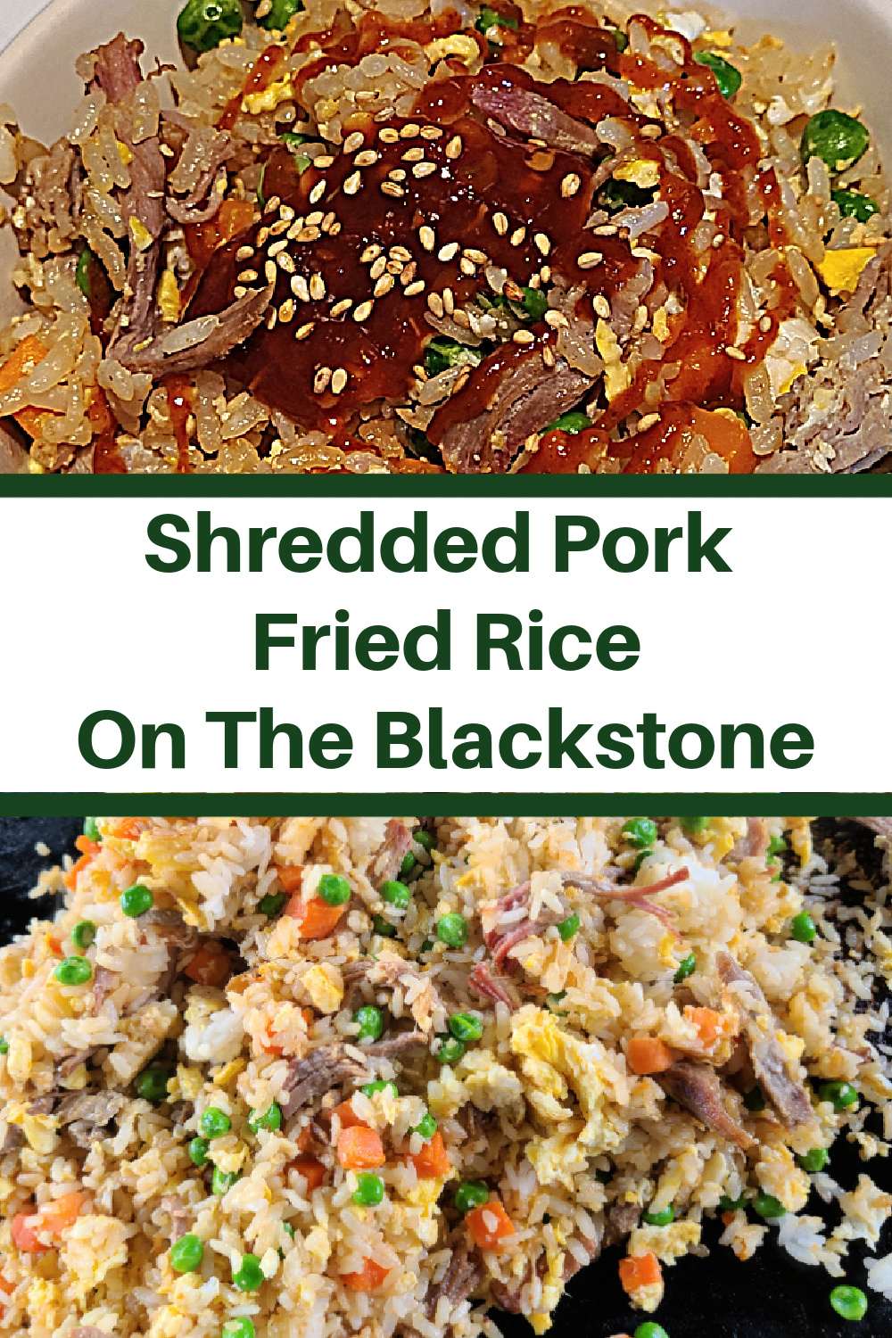 This Shredded Pork Fried Rice Recipe On The Blackstone is perfect to make with leftover smoked pulled pork! The smoke flavor adds to the fried rice! Fried rice is an easy weeknight dinner that is easy to make on the Blackstone griddle!