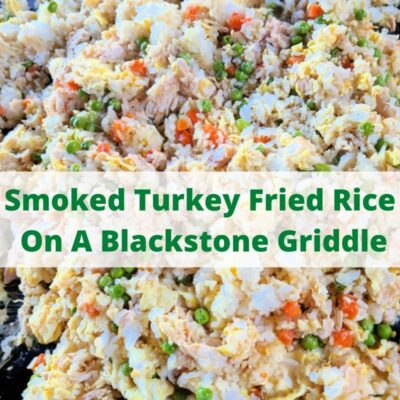 Leftover Smoked Turkey Fried Rice Recipe is the perfect way to use up your leftover smoked turkey and put your Blackstone griddle to use as well! Shred up the leftover smoked turkey from a holiday dinner to cook in this! You can spice up the fried rice with sriracha sauce, chili paste, or even ginger!