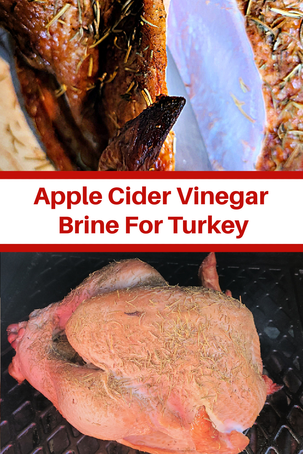 This Apple Cider Vinegar Brine For Turkey is perfect for smoking a turkey! The brine adds so much flavor and also keeps the turkey moist! You can also use this brine to make a turkey in the oven as well! Perfect to smoke on a pellet grill or an electric smoker!